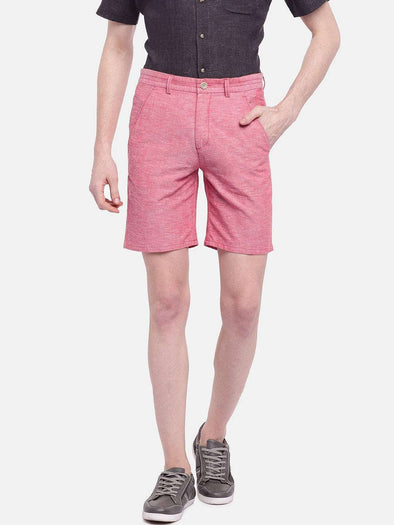 Cottonworld Men's Shorts MEN'S 95% COTTON 5% LINEN RED REGULAR FIT SHORTS