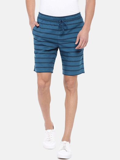 Cottonworld Men's Shorts Men's Cotton Blue Regular Fit Shorts