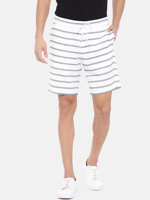 Cottonworld Men's Shorts Men's Cotton White Regular Fit Shorts