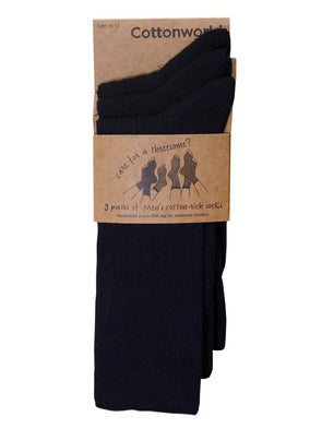 Cottonworld Men's Socks 24 / BLACK Men's Cotton Black Regular Fit Socks