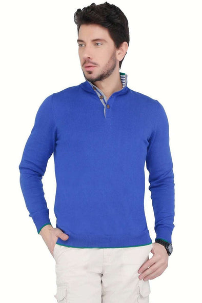 Cottonworld Men's Sweaters Men Blue Casual Full Sleeve Sweater