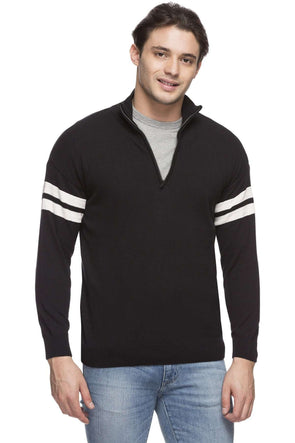Cottonworld Men's Sweaters MEN'S 100% COTTON BLACK REGULAR FIT SWEATER
