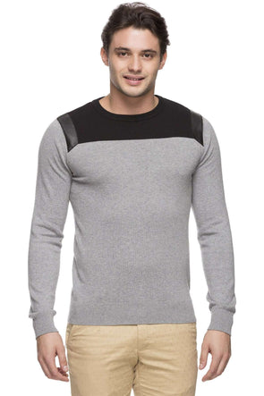 Cottonworld Men's Sweaters MEN'S 100% COTTON GREY MELAN REGULAR FIT SWEATER
