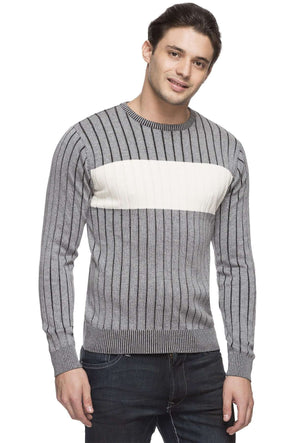 Cottonworld Men's Sweaters MEN'S 100% COTTON GREY REGULAR FIT SWEATER