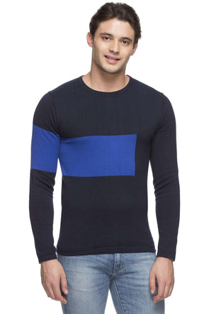 Cottonworld Men's Sweaters MEN'S 100% COTTON NAVY REGULAR FIT SWEATER