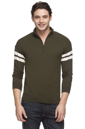 Cottonworld Men's Sweaters MEN'S 100% COTTON OLIVE REGULAR FIT SWEATER