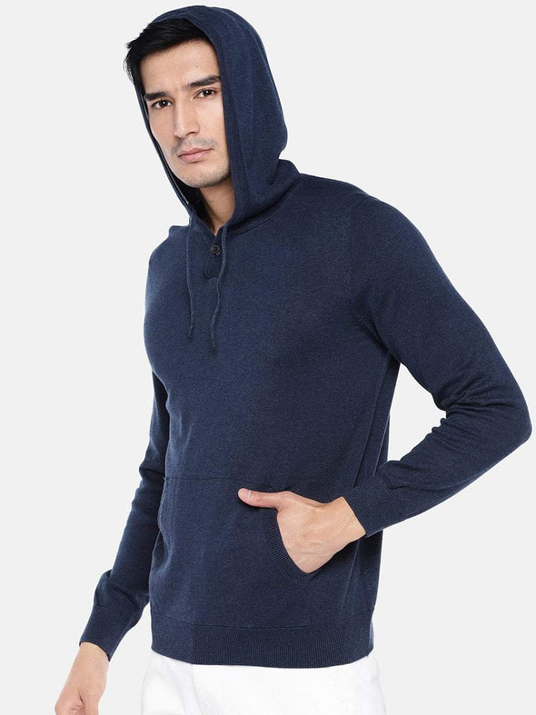 Men's Cotton Navy Regular Fit Sweat Cottonworld Men's Sweaters