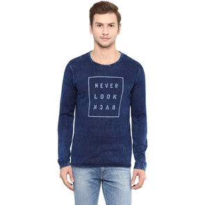 Cottonworld Men's Sweaters MENS 100% COTTON SOLID INDIGO SWEATER
