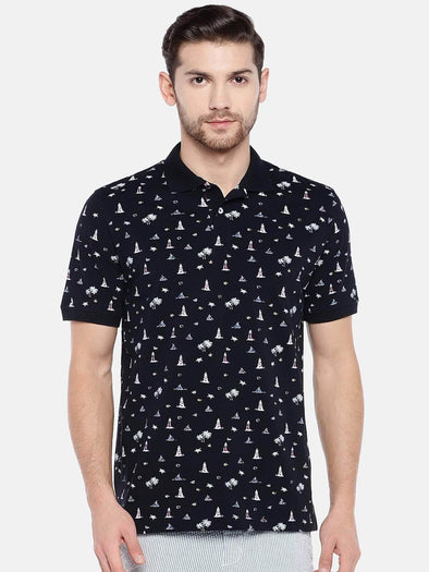 Men's Cotton Dark Navy Regular Fit Tshirt Cottonworld Men's T-shirts