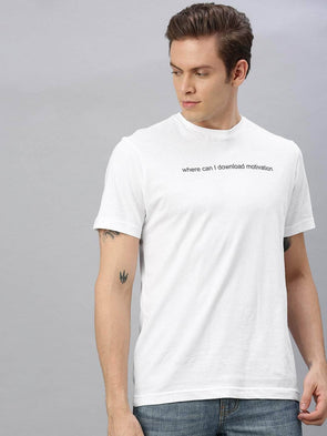 Cottonworld Men's T-shirts Men's Cotton White Regular Fit Tshirt