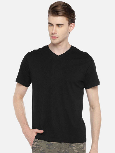 Cottonworld Men's Tshirts 38 CM-SMALL / BLACK MEN'S 100% COTTON BLACK REGULAR FIT TSHIRT