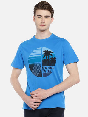Men's Cotton Blue Regular Fit Tshirt Cottonworld Men's Tshirts