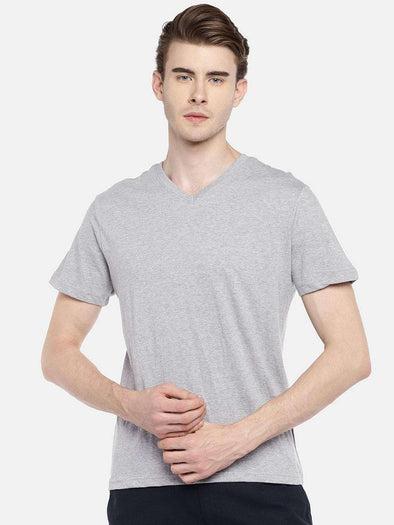 Cottonworld Men's Tshirts 38 CM-SMALL / GREY MELAN MEN'S 100% COTTON GREY MELAN REGULAR FIT TSHIRT