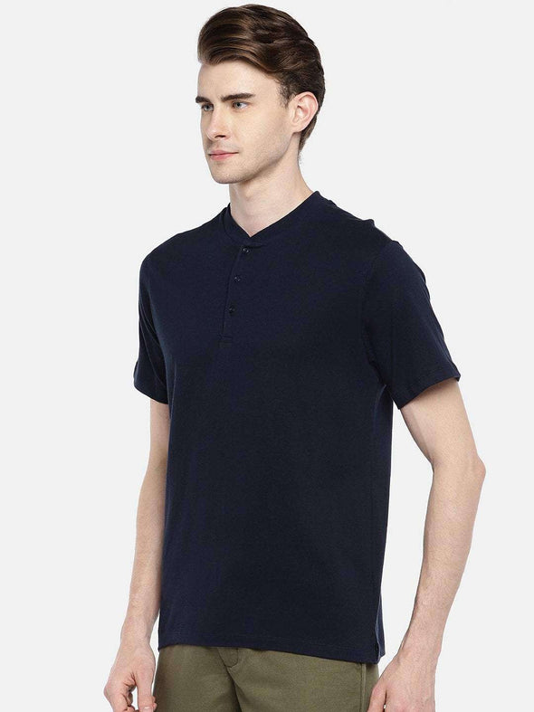 Cottonworld Men's Tshirts 38 CM-SMALL / NAVY MEN'S 100% COTTON NAVY REGULAR FIT TSHIRT