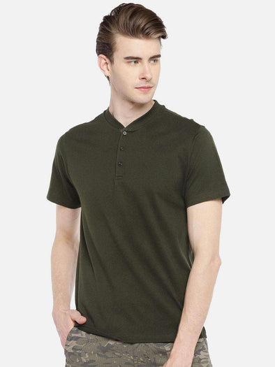Cottonworld Men's Tshirts 38 CM-SMALL / OLIVE MEN'S 100% COTTON OLIVE REGULAR FIT TSHIRT