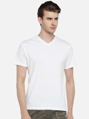Cottonworld Men's Tshirts 38 CM-SMALL / WHITE MEN'S 100% COTTON WHITE REGULAR FIT TSHIRT