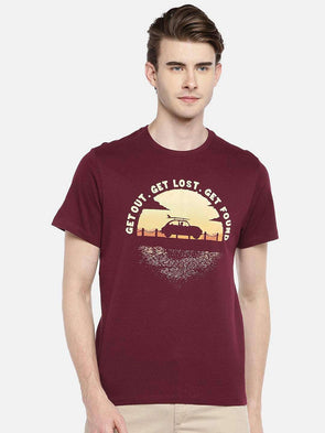 Cottonworld Men's Tshirts 38 CM-SMALL / WINE MEN'S 100% COTTON WINE REGULAR FIT TSHIRT