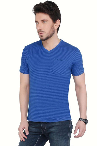 Cottonworld Men's Tshirts Men Blue V-Neck Jersey T-shirt