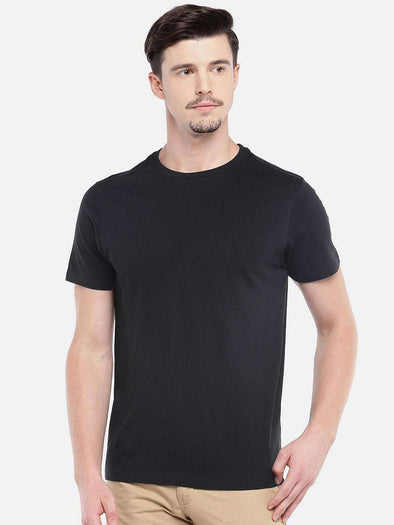 Cottonworld Men's Tshirts MEN'S 100% COTTON BLACK REGULAR FIT TSHIRT
