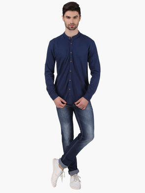 Men'S 100% Cotton Blue Regular Fit Tshirt