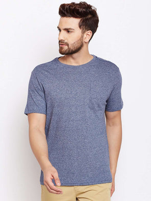 Cottonworld Men's Tshirts MEN'S 100% COTTON BLUE TSHIRT