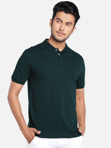 Cottonworld Men's Tshirts MEN'S 100% COTTON DK GREEN REGULAR FIT TSHIRT