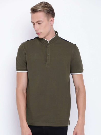 Cottonworld Men's Tshirts MEN'S 100% COTTON DK OLIVE REGULAR FIT TSHIRT