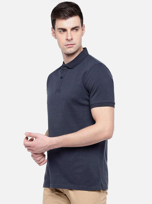 Cottonworld Men's Tshirts MEN'S 100% COTTON ELASTANE BLUE REGULAR FIT TSHIRT
