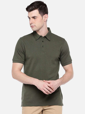 Men's Cotton Elastane Green Regular Fit Tshirt Cottonworld Men's Tshirts