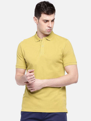 Cottonworld Men's Tshirts MEN'S 100% COTTON ELASTANE MUSTARD REGULAR FIT TSHIRT