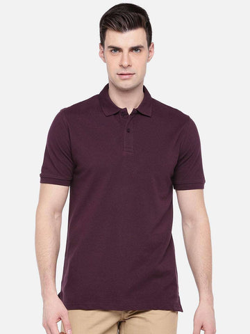 Cottonworld Men's Tshirts MEN'S 100% COTTON ELASTANE WINE REGULAR FIT TSHIRT