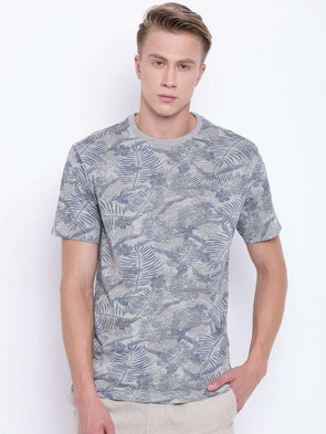 Men's Cotton Grey Melan Regular Fit Tshirt Cottonworld Men's Tshirts