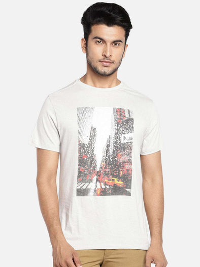 Men's Cotton Grey Regular Fit Tshirt Cottonworld Men's Tshirts