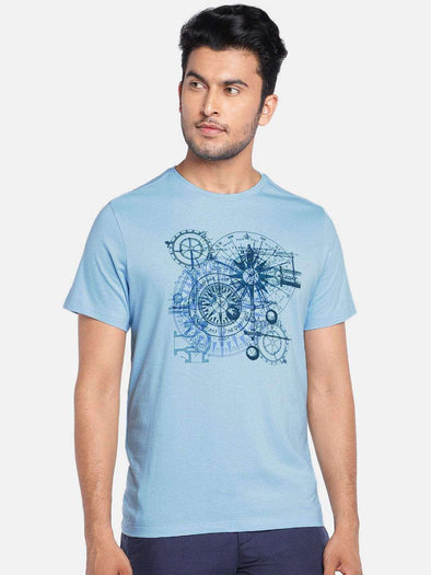 Cottonworld Men's Tshirts MEN'S 100% COTTON LBLUE REGULAR FIT TSHIRT