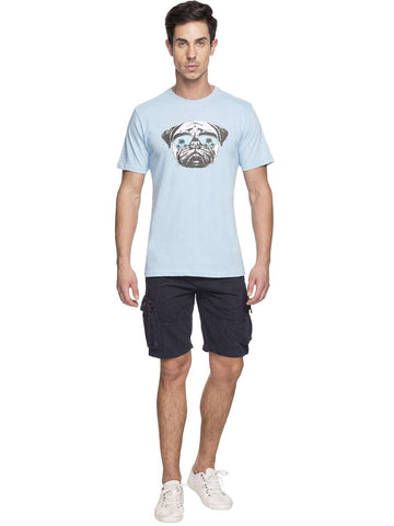 Cottonworld Men's Tshirts MEN'S 100% COTTON LBLUE TSHIRT