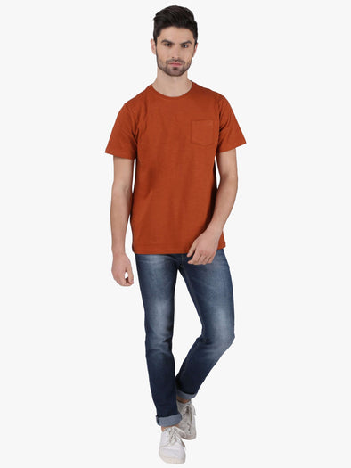 Cottonworld Men's Tshirts MEN'S 100% COTTON MUSTARD REGULAR FIT TSHIRT