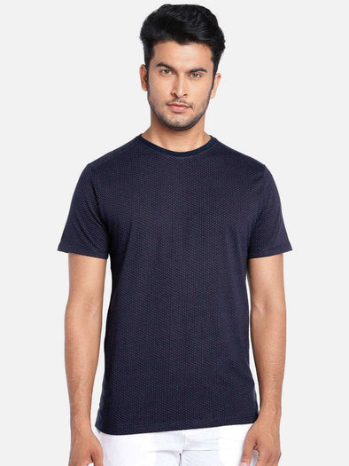 Cottonworld Men's Tshirts MEN'S 100% COTTON NAVY REGULAR FIT TSHIRT