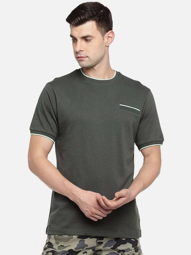 Cottonworld Men's Tshirts MEN'S 100% COTTON OLIVE REGULAR FIT TSHIRT