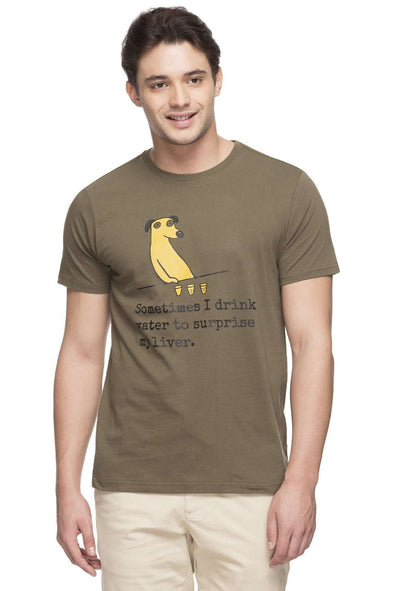 Cottonworld Men's Tshirts MEN'S 100% COTTON OLIVE TSHIRT