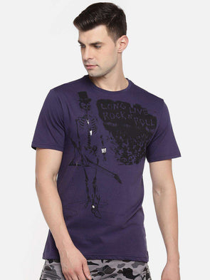 Men's Cotton Purple Regular Fit Tshirt Cottonworld Men's Tshirts