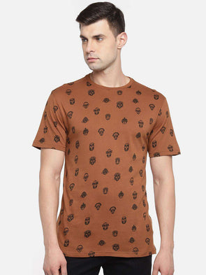 Cottonworld Men's Tshirts MEN'S 100% COTTON RUST REGULAR FIT TSHIRT