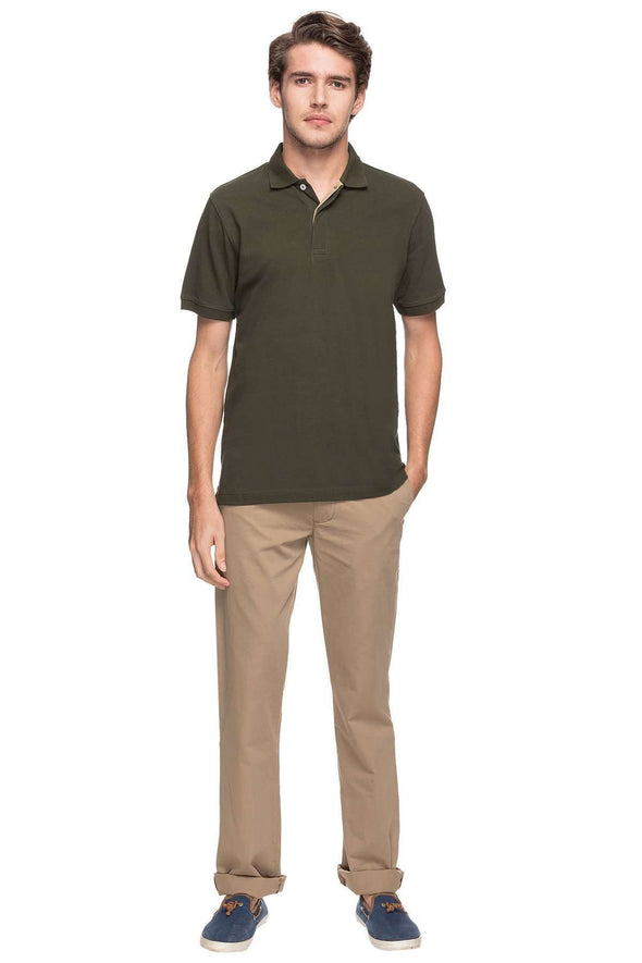 Cottonworld Men's Tshirts MEN'S 100% COTTON SOLID DK.OLIVE REGULAR FIT TSHIRT