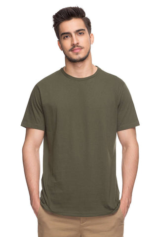 Cottonworld Men's Tshirts MEN'S 100% COTTON SOLID OLIVE REGULAR FIT TSHIRT