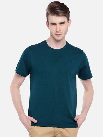 Cottonworld Men's Tshirts MEN'S 100% COTTON TEAL REGULAR FIT TSHIRT