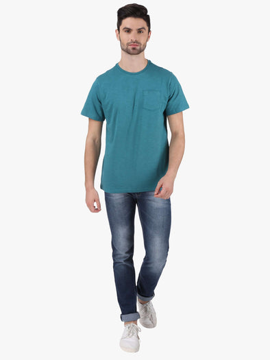 Cottonworld Men's Tshirts MEN'S 100% COTTON TURQUOISE REGULAR FIT TSHIRT