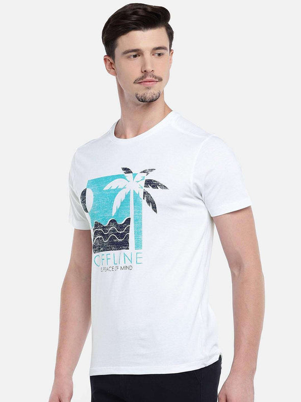 Cottonworld Men's Tshirts MEN'S 100% COTTON WHITE REGULAR FIT TSHIRT