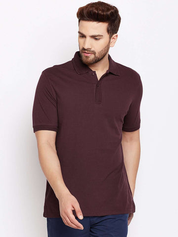Cottonworld Men's TShirts MEN'S 100% COTTON WINE REGULAR FIT TSHIRT