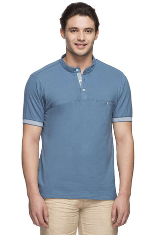 Cottonworld Men's Tshirts MEN'S 95% COTTON 5% ELASTANE BLUE REGULAR FIT TSHIRT