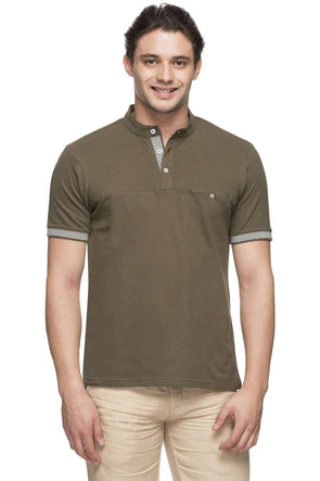 Cottonworld Men's Tshirts MEN'S 95% COTTON 5% ELASTANE OLIVE REGULAR FIT TSHIRT