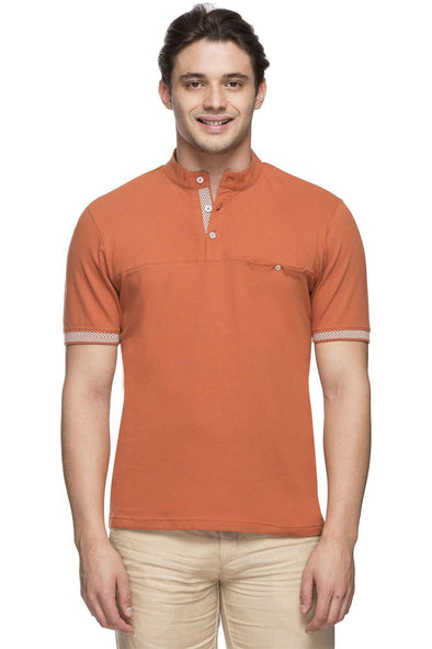 Men's Cotton Elastane Rust Regular Fit Tshirt Cottonworld Men's Tshirts